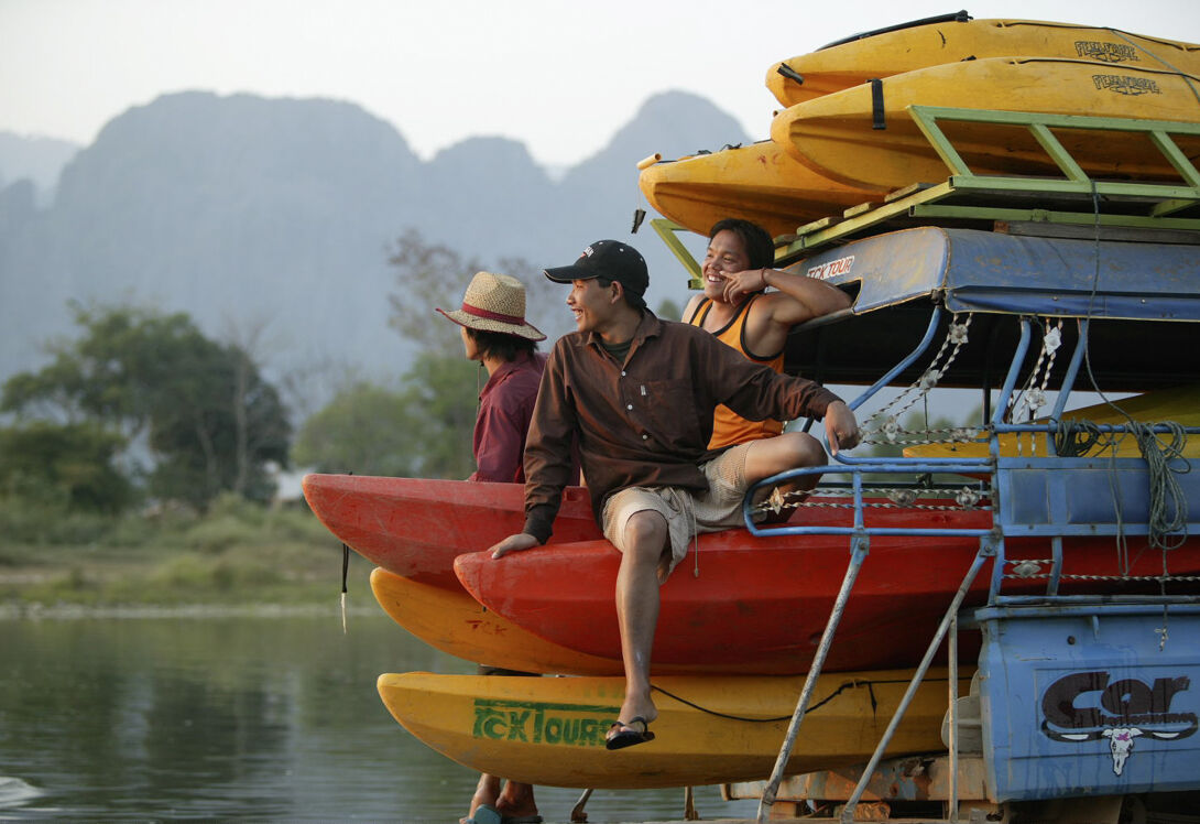Paddle through the waters of the mighty Mekong in a kayak Laos Luang Prabang