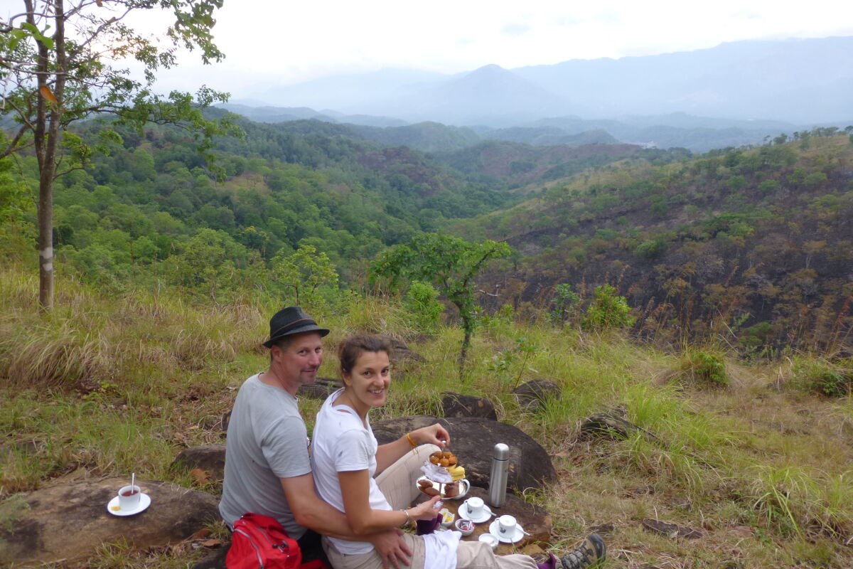 Gemma with husband Colin, freshly surprised by afternoon tea on the mountainside