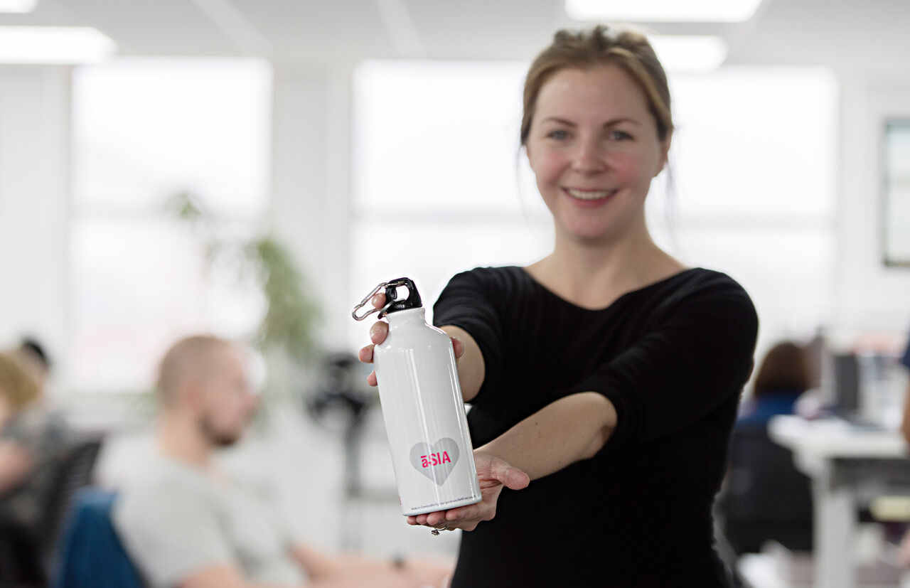 Annie with our prototype bottle