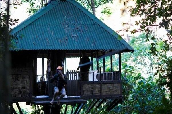 A man dangling from a zipwire that's attached to a treehouse