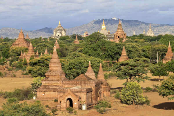 View of Bagan from a hot air balloon