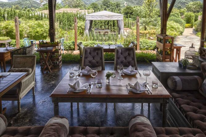 Dining with a garden view