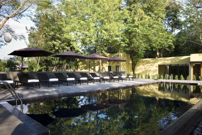 Sheltered outdoor pool