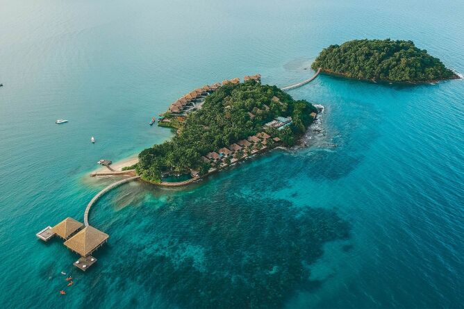 Aerial view of Song Saa private island