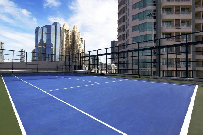 Rooftop tennis court