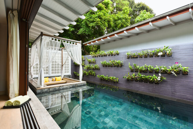 Private plunge pools with loungers