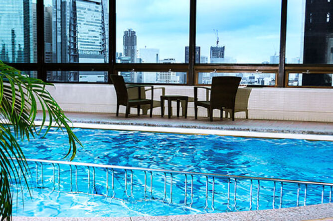 Skyline views from the pool