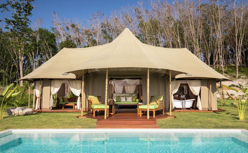 Safari-style tent with pool