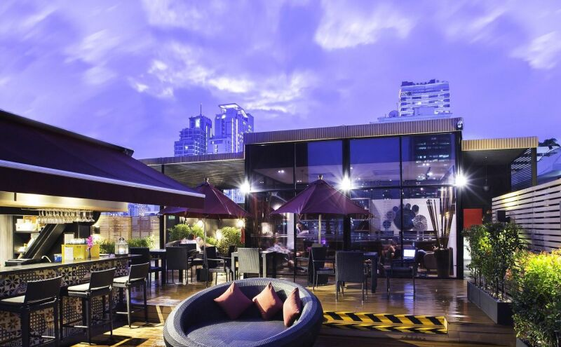Rooftop pool bar