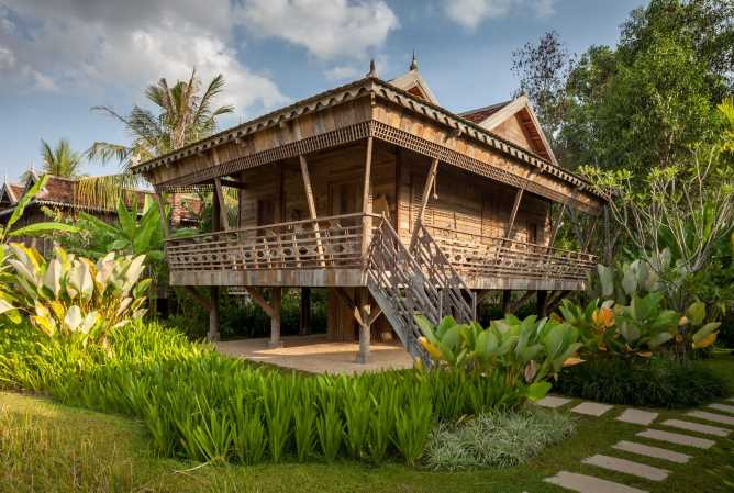 Authentic wooden house on stilts