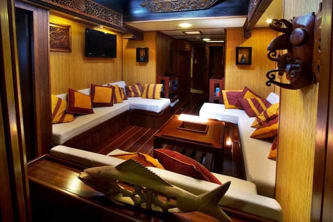 Lounge area on the Raja Laut
