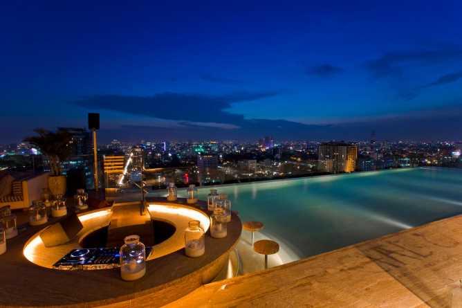 Rooftop pool bar at night