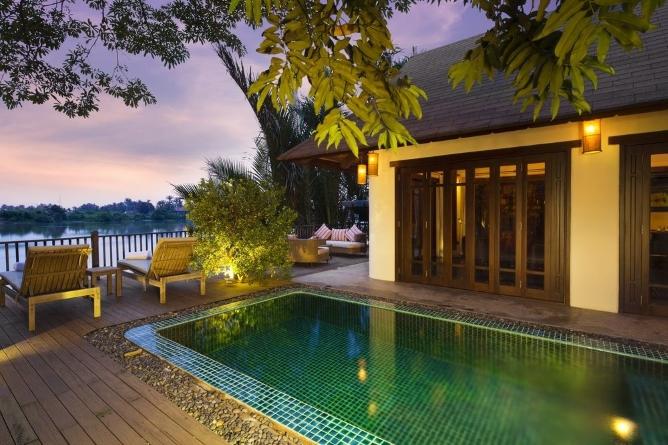 Riverfront pool villa