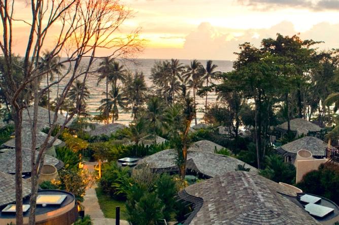 Sunset across the villa roofs