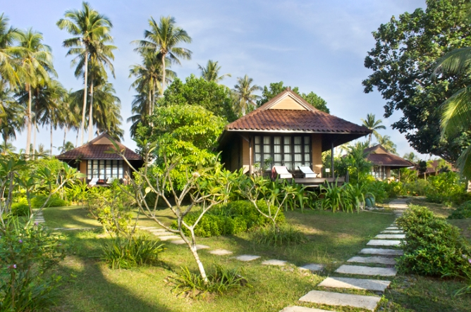 Villas surrounded by tropical foliage