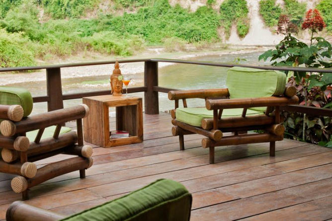Private terrace overlooking the peaceful river
