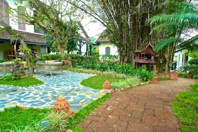 Tropical gardens at Phou Vao