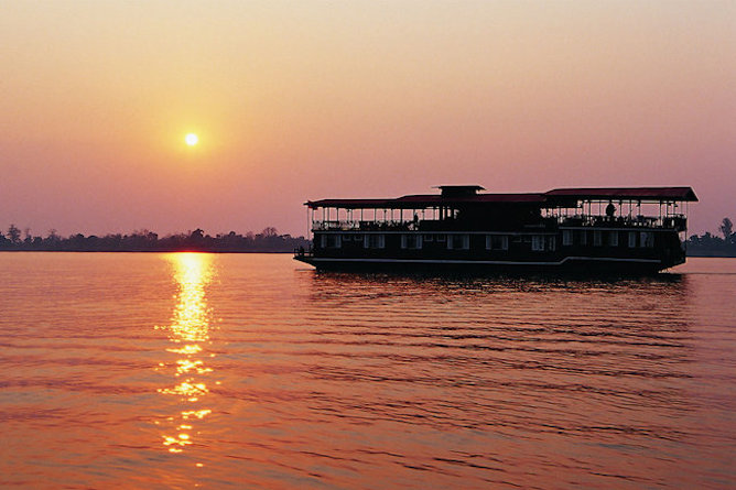 The Vat Phou cruising at sunset