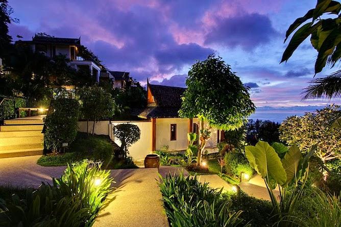 Resort grounds by night