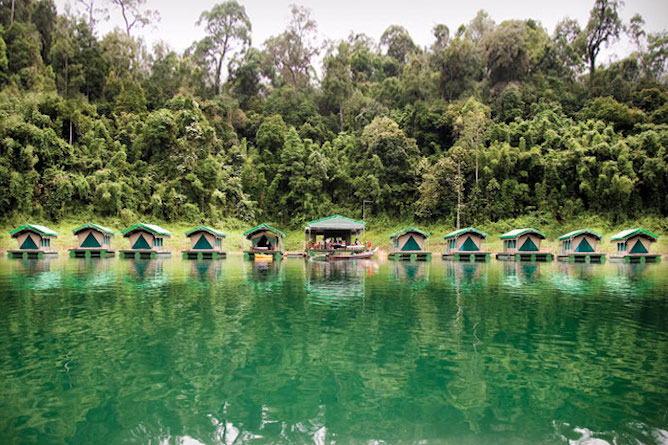 The moored floating platforms that make up the rainforest lodge