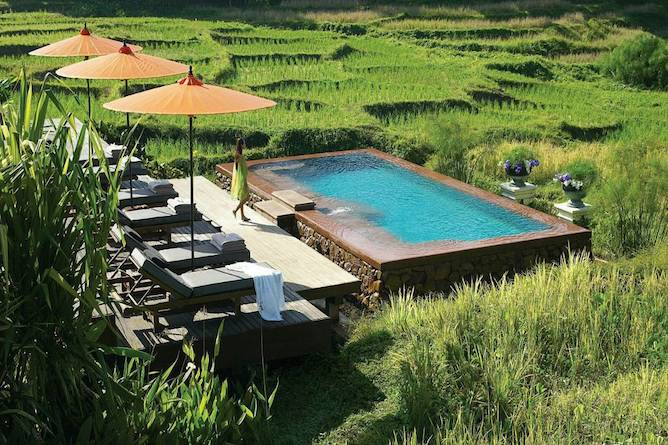 The pool offers beautiful views of the Mae Rim Valley