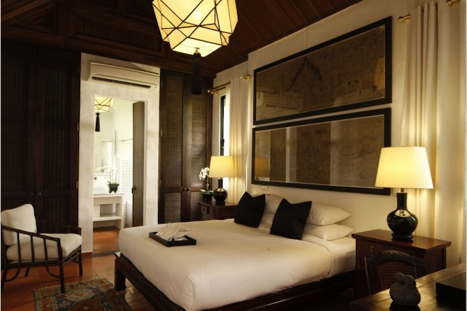 The bedroom in the Courtyard suite