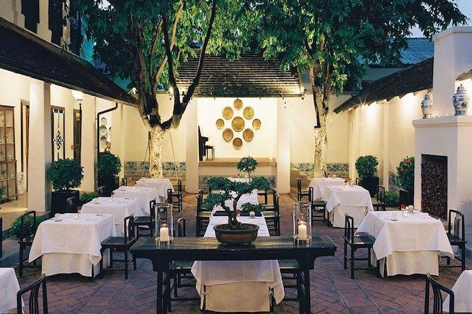 The open-air courtyard restaurant