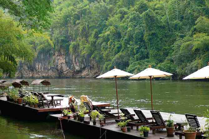 Riverside terrace and views of The River Kwai