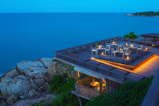 Dining on the Rocks Restaurant from above