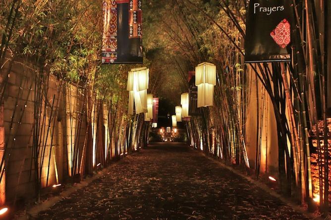 The impressive bamboo entrance way