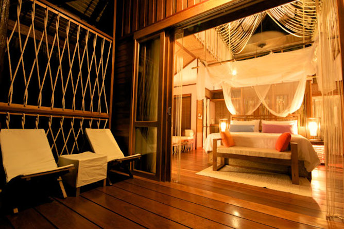 Bedroom in the floating villa