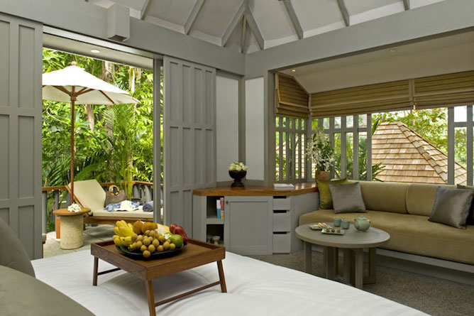 Bedroom in one of the deluxe cottages