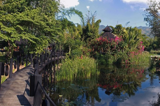 The delightful gardens and lake