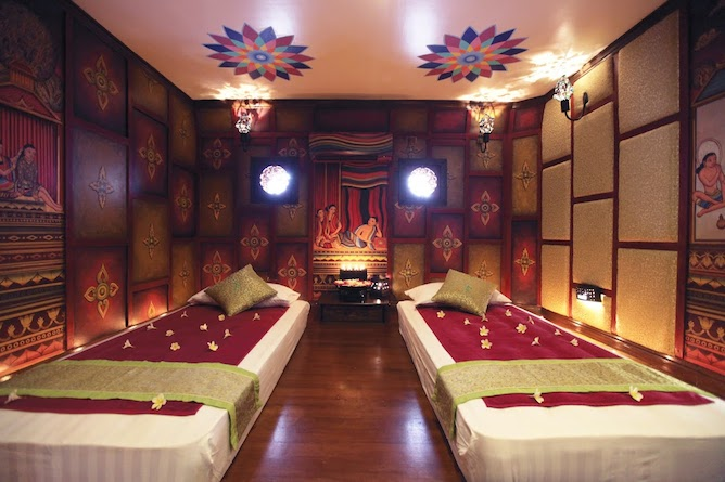 Traditional Burmese massage treatment room