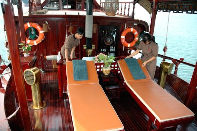 The secluded sundeck offers relaxation and tranquility whilst cruising Halong Bay