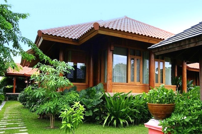 A typical deluxe teak villa at the resort