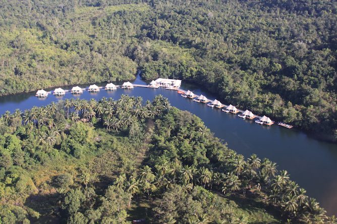 Aerial view of 4 Rivers Floating Lodge