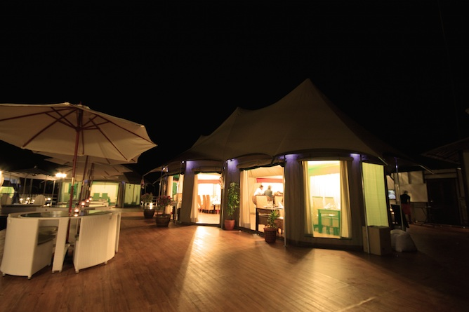 The fine dining restaurant by night