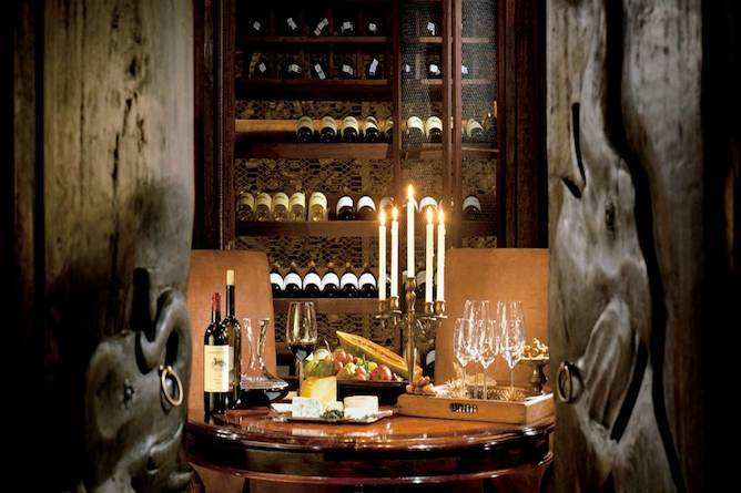 The extensive wine cellar
