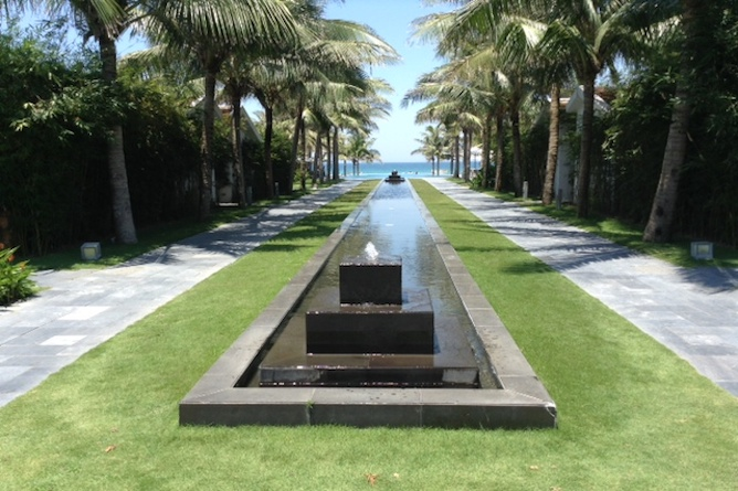 The stunning gardens leading down to the beach