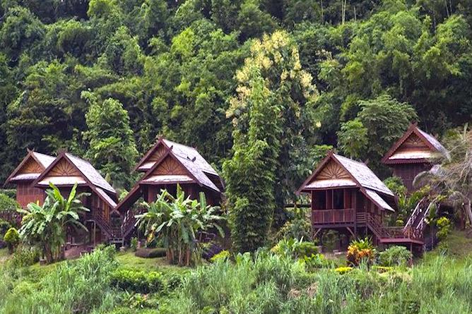 Luang Say Lodge set amongst lush green countryside
