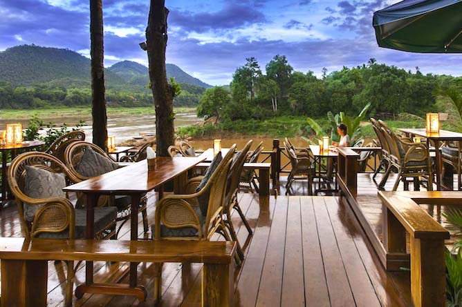 The dining terrace is perfectly situated