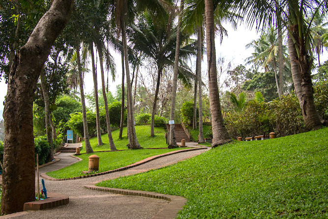 The impressive well manicured gardens at the hotel