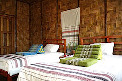 The bungalows are constructed from local natural materials