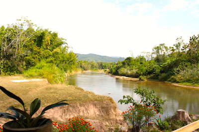 The guesthouse is located on the banks on the Namtha River