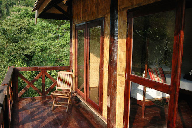 The private balcony overlooking the river