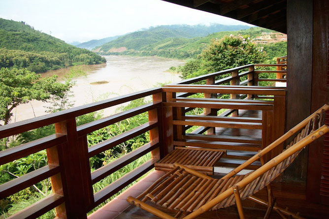 The private balcony offers spectacular views