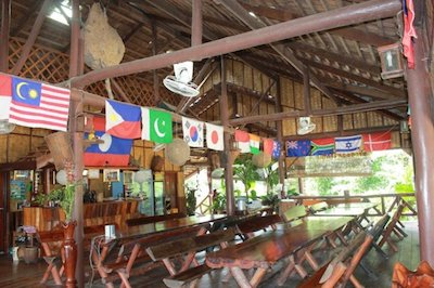 The resort restaurant offers traditional Laotian dishes