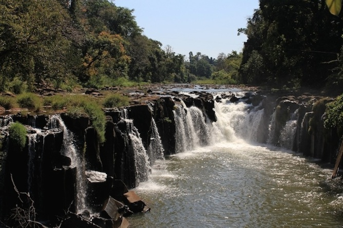 The waterfalls and rugged terrain are spectacular