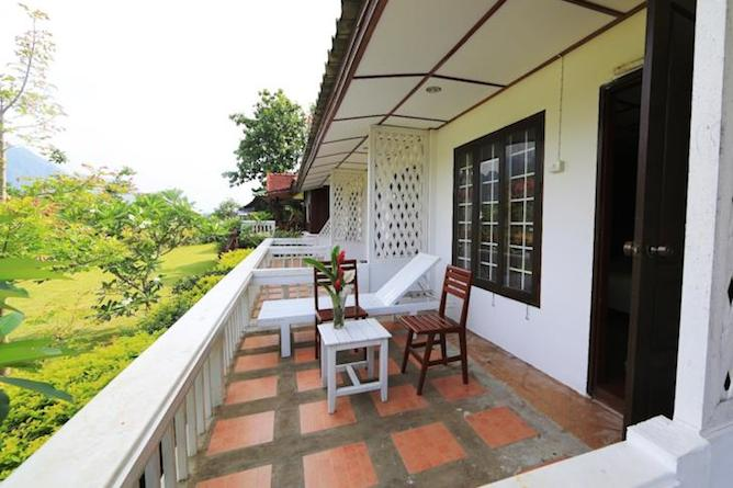 Private balcony overlooking the gardens & river